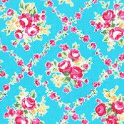 Flower Sugar - Lattice on light blue