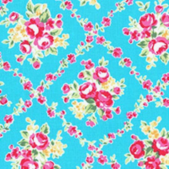 Flower Sugar - Lattice on light blue
