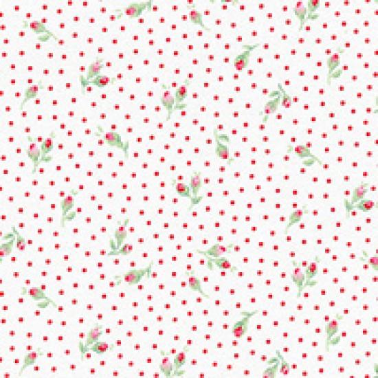 Flower Sugar - Rosebud on white and red