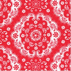 Flower Sugar - Medallion on Red