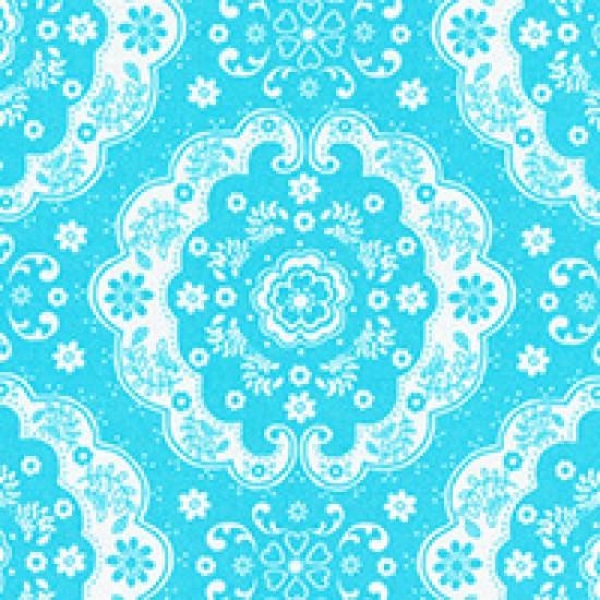 Flower Sugar - Medallion on Light Blue