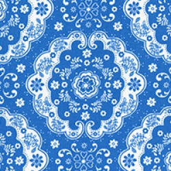 Flower Sugar - Medallion on Dark Blue