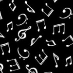 Monochrome - Musical Notes - White on Black
