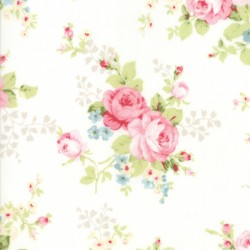 "Amberley - Floral Bouquet Linen White - 50"" Bolt End"