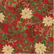 Gilded Greenery Metallics - Crimson Poinsettias