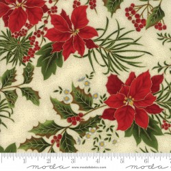 Gilded Greenery Metallics - Cream Poinsettia and Holly - 2 Cut FQs