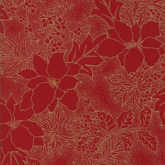 Gilded Greenery Metallics - Crimson Poinsettia Toile