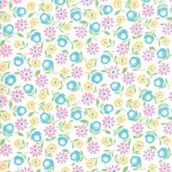 Good Day - Bursting Blooms White Turquoise - PRE ORDER DUE AUGUST