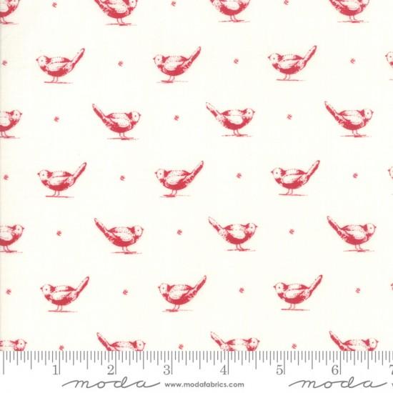 My Redwork Garden - Early Birds Cream Red