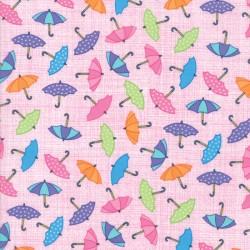 Rainy Day - Umbrella Pink Raining Umbrellas - 2 Cut FQs