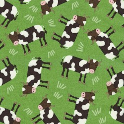 Farm Fun - Tossed Cows Green