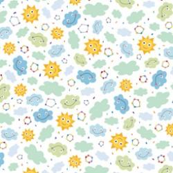 Safari in the Sky - Sunshine Clouds White