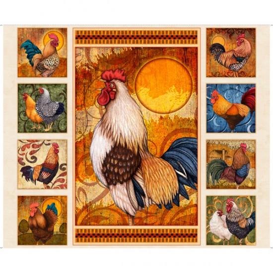 Sunrise Farm - Rooster Panel Cream