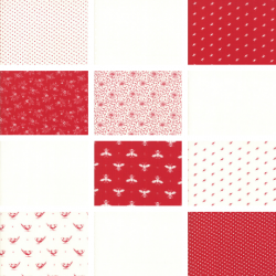 My Redwork Garden - Bundle of 12 Fat Quarters - 1 FQ Free