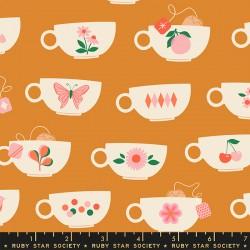 Ruby Star Society - Camellia - Tea Cups Caramel - PRE-ORDER DUE DECEMBER