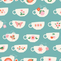 Ruby Star Society - Camellia - Tea Cups Turquoise - PRE-ORDER DUE DECEMBER