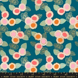 Ruby Star Society - Purl - Embroidered Floral Teal - PRE-ORDER DUE APRIL