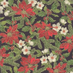 Poinsettias And Pine - Poinsettias Holly Ebony - PRE-ORDER DUE JULY