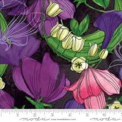Sweet Pea and Lily - Main Floral Stormy - 1 Cut FQ Remaining