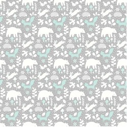 Hello Little One - Animals On Grey And Mint