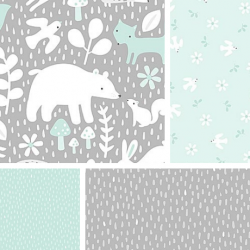 Hello Little One - Fat Quarter Bundle Mint
