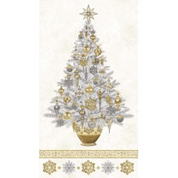 White Christmas - Christmas Tree Panel Neutral Gold