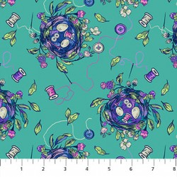 Stag and Thistle - Sew Bountiful Turquoise
