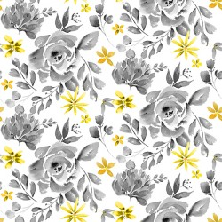 Misty Morning - Cabbage Rose Gray Yellow - PRE-ORDER DUE MARCH