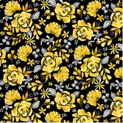 Misty Morning - Cabbage Rose Black Yellow - PRE-ORDER DUE MARCH