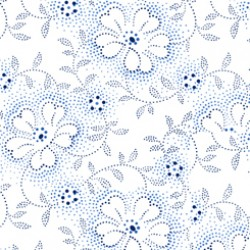 Danbury - Dotted Vinal Floral White