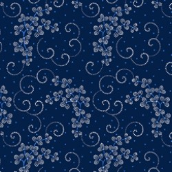 Danbury - Dotted Leaf And Scroll Navy - PRE ORDER DUE March