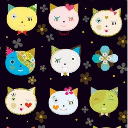 Kitty Cats - Kitty Cat Heads And Flowers Black - PRE-ORDER DUE OCTOBER