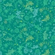 Parrot Party - Leaf Sketch Dark Jade - PRE ORDER DUE MAY