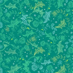 Parrot Party - Leaf Sketch Dark Jade - PRE ORDER DUE MAY