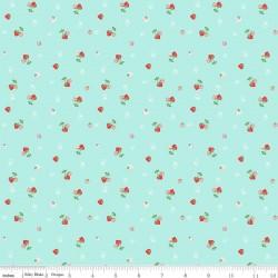 Quilt Fair by Tasha Noel - Strawberries Aqua - PRE-ORDER DUE DECEMBER/JANUARY