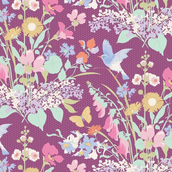 Gardenlife by Tilda - Bird Floral Plum - PRE-ORDER DUE MAY