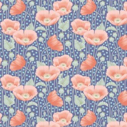 "Gardenlife by Tilda - Poppies Blue - 46"" Bolt End"