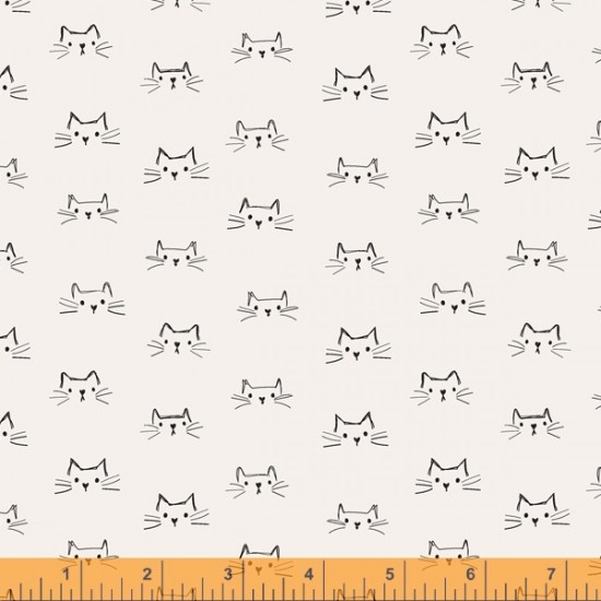 Mod Cat - Cat Faces Ivory - PRE-ORDER DUE MAY