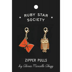 Ruby Star Society - Zipper Charms - Butterfly and Owl by Alexia Marcella Abegg - PRE-ORDER DUE NOVEMBER
