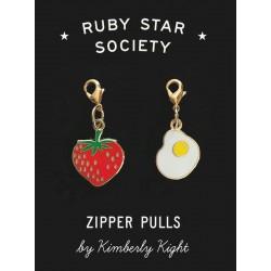 Ruby Star Society - Zipper Charms - Strawberry and Egg by Kimberley Kight - PRE-ORDER DUE NOVEMBER