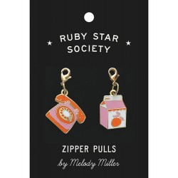 Ruby Star Society - Zipper Charms - Telephone and Juice Box by Melody Miller - PRE-ORDER DUE NOVEMBER