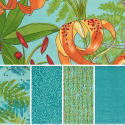 Carolina Lilies - Bundle of 5 Fat Quarters - Aqua - PRE-ORDER DUE DECEMBER