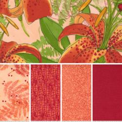 Carolina Lilies - Bundle of 5 Fat Quarters - Peach - PRE-ORDER DUE DECEMBER