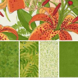 Carolina Lilies - Bundle of 5 Fat Quarters - White/Green - PRE-ORDER DUE DECEMBER