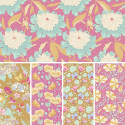 Gardenlife by Tilda -  Fat Quarter Bundle - Pink/Mustard - PRE-ORDER DUE MAY