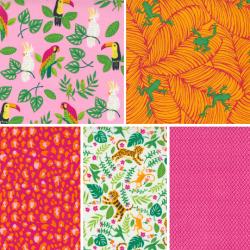 Jungle Paradise - Bundle of 5 Fat Quarters - Hibiscus - PRE-ORDER DUE SEPTEMBER