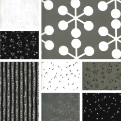 Quotation - Bundle of 8 Black, Grey and Cream Fat Quarters - PRE-ORDER DUE DECEMBER