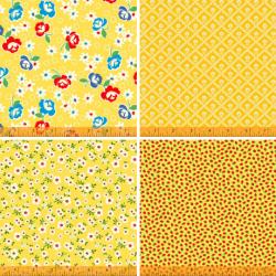 Sugarcube - Bundle of 4 Yellow FQs - PRE-ORDER DUE NOVEMBER